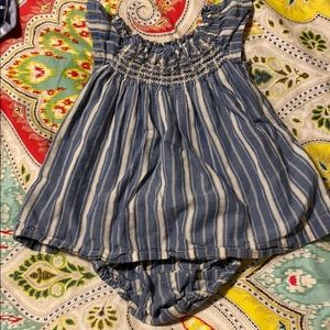 Smocked chambray dress with flutter sleeve 0-3 mon